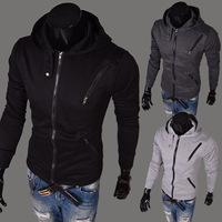 Free Shipping 2014 new Korean version of Slim Multi zipper sweater coat fashion jacket high quality