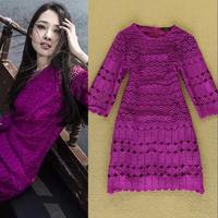 Big Promotion! 2014 Celebrity Fashion Beautiful Crochet Purplish Red Ladies Dress Cutout Formal Dresses F16266