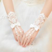 Free Shipping! New Fashion Bowknot  Bridal Short Beading Wedding Gloves Lace Decoration