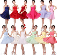 Professional Design Various Colors Pleated Short Dress One Shoulder Simple Style In Stock Bridesmaid Dress
