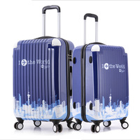 2014 New Design 20'' Four spinner wheel trolley luggage To the world pattern suitcase luggage with  password box Free shipping