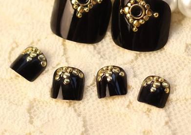 Foot here v.Vi pure black lovely toenails glue 24 pieces Nail products Nail art tools makeup(China (Mainland))