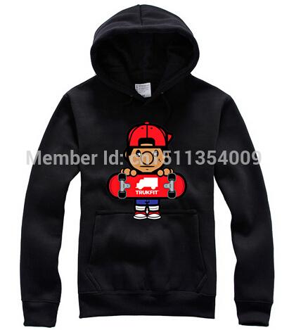 Free shipping Hip-hop cotton fleece skateboarding board tide head hoodie ball round collar(China (Mainland))