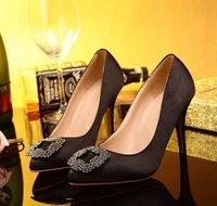 Classic women fashion pumps brand high heels shoes rhinestone satin thin high heels shoes pointed toe Eur size 35-41