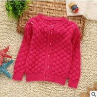 autumn winter 2014 new children girl solid color brief knit sweater outerwear kids girl fashion casual sweater wholesale clothes