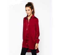 2014 Blue/Red Blouse New Fashion Long Sleeve  Women Shirt Solid Ladies Casual Long Blouses