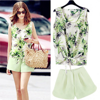 Fashion sexy racerback loading star print chiffon short skirt set flower print