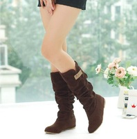 New 2014 autumn ankle boots for women Medium-leg boots elevator laciness scrub flat heel single boots plus size 34-44 available.