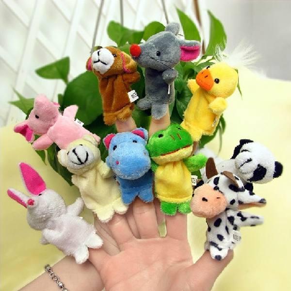 1Set/10Pcs Free Shipping Children Baby Soft Plush Animal Toy Finger Talking Props Learning Telling Story Gift(China (Mainland))