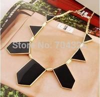 style small chili irregular geometric pendant necklace  Big Star style Hilton Love black geometric irregular statement necklace