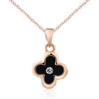 Genuine Austrian crystals rose golden blackClover necklace 14K Gold Plated Pendant 100% hand made  JewelryROXN013