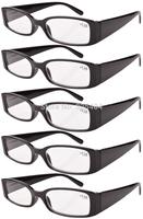 Eyekepper R040 Spring Hinge Plastic Reading Glasses (5 Pairs), Includes Sunglass Readers Black-5pcs  +1.00--+4.00