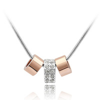 Crystal pendant natural crystal pendant female pure silver fashion ring rose gold chain female