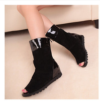 Ladies Fashion Mid Calf Boots Low Height Increasing Fish Mouth Women Shoes With Back Zip PLS6981NF