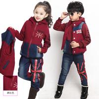 Fashion children's clothing / winter 2014 new boys girls thick sweater three-piece children / children brand sports suit large