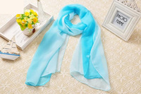Nice Chiffon Scarf Women High Quality Gradual colors chiffon georgette silk scarves shawl female long design