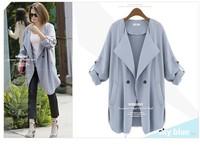 Hot autumn women loose medium-long trench coat Korea style ladies single breasted Khaki/blue trench outerwear plus size 4XL