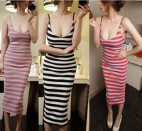 Hot Sexy Fashion Black Red Pink Ladies Women Slim Hip Striped Print Spaghetti Strap Long Dresses Summer Casual Beach Dress