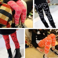 wholesales children's legging girl's spring and autumn cartoon cat legging kid's tutu legging with letter 3-7 ages