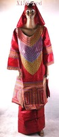 FREE SHIPPING hot sale muslim dress for african people(X156-red)