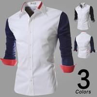 2014 Autumn Men's Fashion Patchwork Slim Fit Long Sleeve Casual Shirts Mens Dress Shirts Black Blue Plus Size