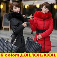 Lanluu 2014 New Fashion Ladies Long Down Coat Winter Jackets Women Thick Parkas Plus Size SQ740
