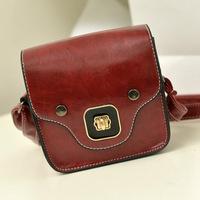 Free shipping 2014 cute mini messenger bag burgundy PU bag