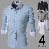 2014 Man Patchwork Long Sleeve Shirt Causal Men T-Shirt Slim Buseiness Dress Homem Camisa
