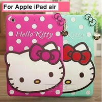 New arrival for Apple iPad air case cartoon splashy hello kitty case silicone soft cover for iPad 5 free shipping