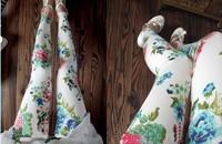 Spring and autumn doodle splash-ink rose print elastic waist elastic legging plus size female ankle length trousers[240222]