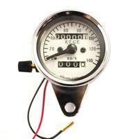 Universal 60mm Dual Odometer Speedometer Meter Gauge Night Light Fit All Motorcycle KM/H