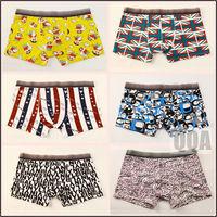 QQ002 wholesale underwear Crayon Shin-chan cartoon printed national flag pattern pool party cute hipster shorts men