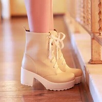 Ladies winter lace up boots with single Martin thick soled shoes female head knight boots ankle warm boots size 34-39 B062