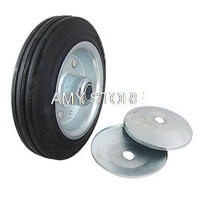 "Wheelbarrow Shopping Cart 6"" x 1.6"" Rubber Metal Wheel Black Silver Tone(China (Mainland))"