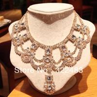 Queen fashion full rhinestone gem inlaying necklace