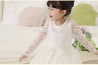 Freeshipping HOT autumn New Korean version Girls Long sleeve princess dress, lace bowknot princess dress Girls' dresses