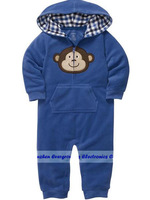 DHL FREE 20SETS 2014 autumn/winter animals hooded polar fleece climb clothes baby boy&girl Long sleeve romper EG1030