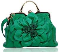 Handbag Women  2014 New Lady Rose Flower Brand Tote bags Women PU Leather messenger bag Evening bags Free shipping