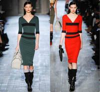 Women Fall Half Sleeve Vintage Red Stripe Patchwork V-neck Back Zipper Mid-Calf Pencil Bodycon Dress CD1333