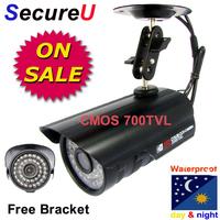 Free shipping cheap 700TVL IR CCTV security alarm system surveillance video bullet outdoor use waterproof camera installation