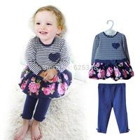 conjunto de roupa 2014 autumn New born baby clothing sets long-sleeve baby girls dress+pants roupas de bebe