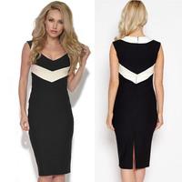 2014 New Fashion Summer Desigual Slim Fit Bodycon Dress Monochrome Panel Brand Sweet Heart Neck Midi Elegant Casual Dress YK012