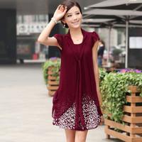 2014 summer loose plus size chiffon dress medium-long basic lace short-sleeve dress faux two piece chiffon dress