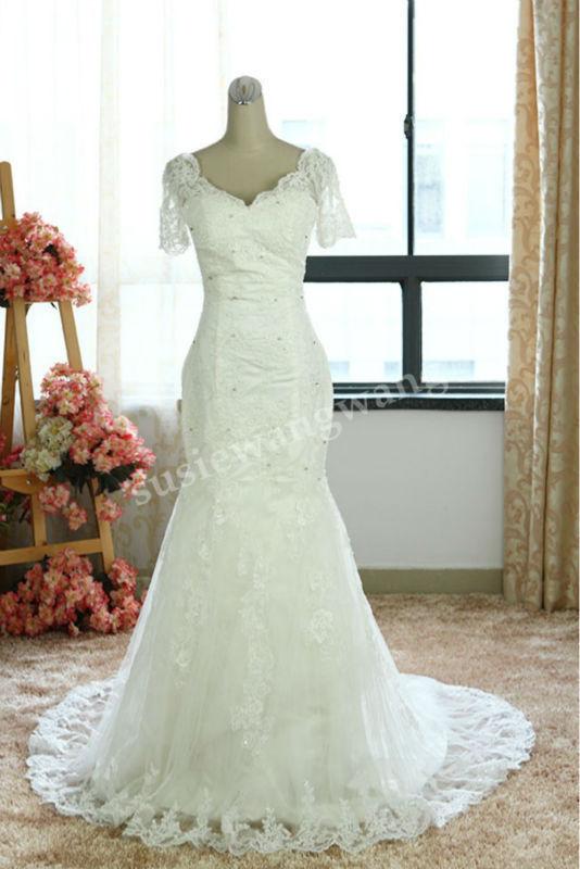 Sereia V-neck apliques vestido de noiva lindo mangas curtas de noiva vestido feito sob medida real photo HSW005(China (Mainland))
