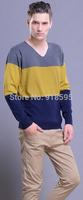 New Fall 2014 Men's Sweater Fashion leisure Wild long-sleeved V-Neck Sweater Burst Models Slim Free Shipping Promotion