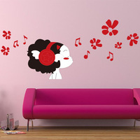2014 removable wall stickers removable stickers decorative wall stickers cute doll landscaping
