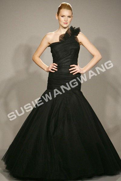 Venda quente barato de um ombro Mermaid Prom vestido preto Organza andar de comprimento vestido de noite foto real(China (Mainland))
