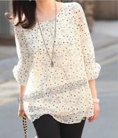 5XL t-shirt women blouses blusas big size shirts print chiffon polka Dot casual blouses Fashion Shirt 851741