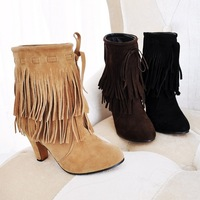 Big size 34-43  2014 New Arrived Pointed Toe high heels Slip-On Tassel Faux suede boots pumps shoes ST-306