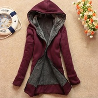 Autumn women's cardigan hood plus velvet thickening berber fleece wadded jacket cotton-padded jacket sweatshirt free shipping